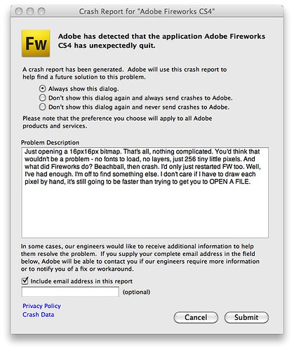 "Crash Report for ""Adobe Fireworks CS4"" 