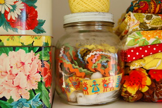 vintage tins, ric rac and fabric | by stitchy odelia