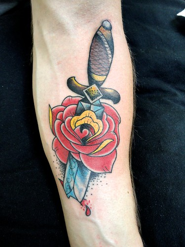 rose with dagger | by inkaholicstattoos
