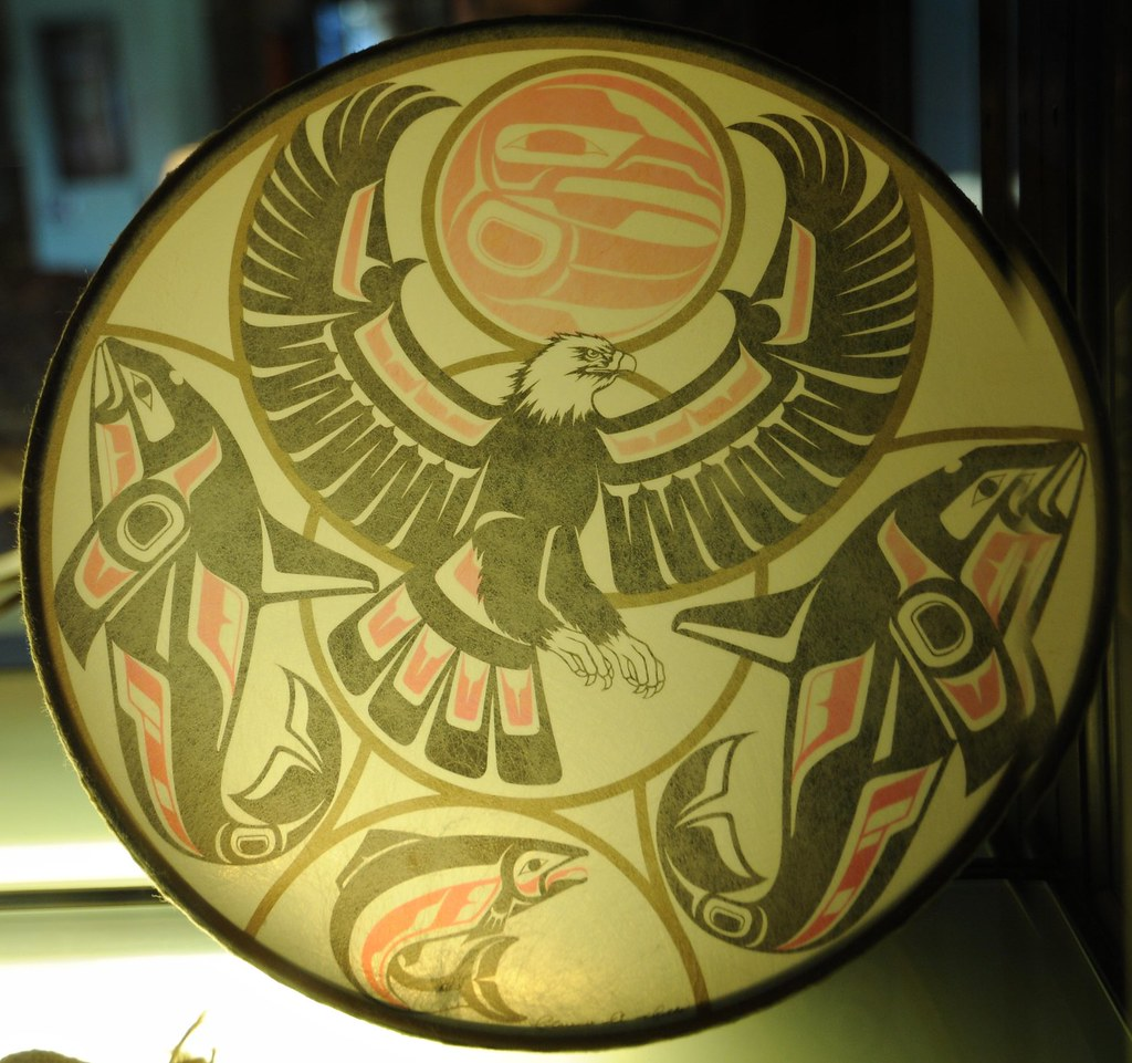 Alaskan Drum Painted With Totemic Designs Mixed Realism W Flickr