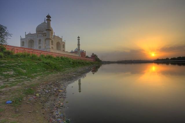 Taj  Sunset  Yamuna River and TrashYamuna River Trash