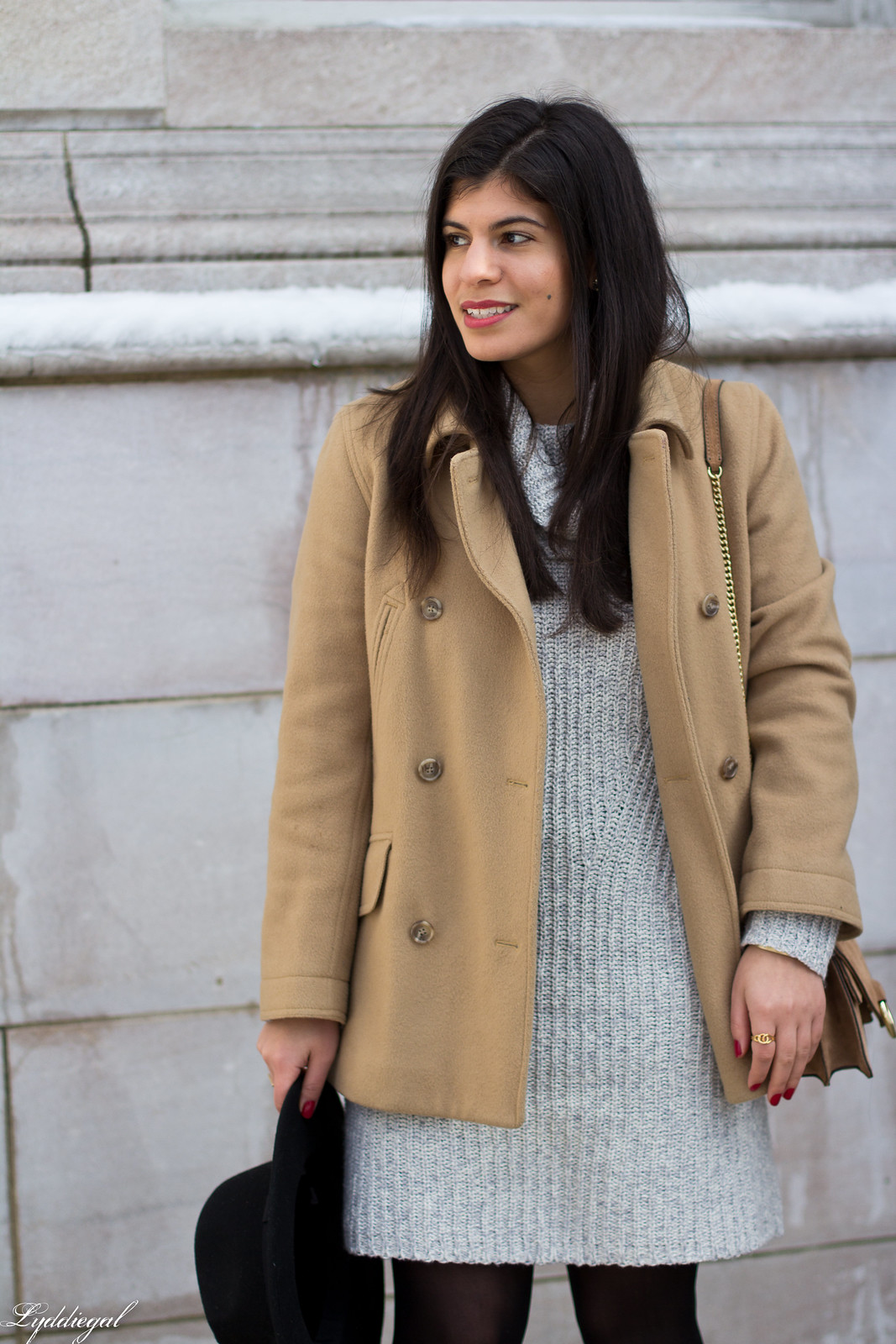 grey sweater dress, camel peacoat, black boots, winter outfit-5.jpg