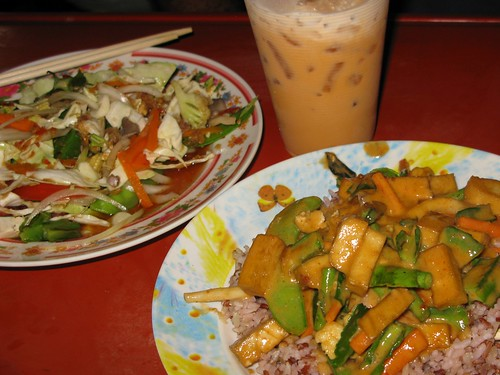 Mmmm...spicy coconut tofu and spicy salad on the street - Bangkok, Thailand | by lboogie