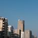JAL's airplane flies over Osaka City
