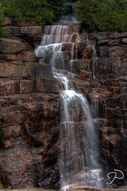 Waterfall On Cadillac Mountain HDR Acadia National Park