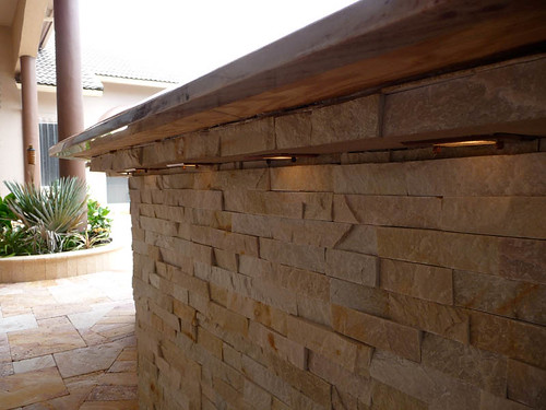 Stacked Stone Patio Bar With Lighting