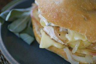turkey burger with apples, Gruyere, and sage mayo | by Food Blogga