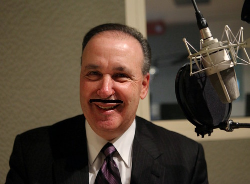 Gerry Brooks with a virtual mustache | by WNPR - Connecticut Public Radio