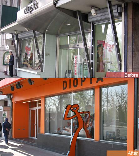 Optical shop exterior design belgrade serbia for Shop exterior design