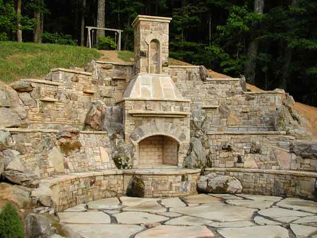 ... Outdoor Room Stone Fireplace With Patio And Grill   By Bricksolid
