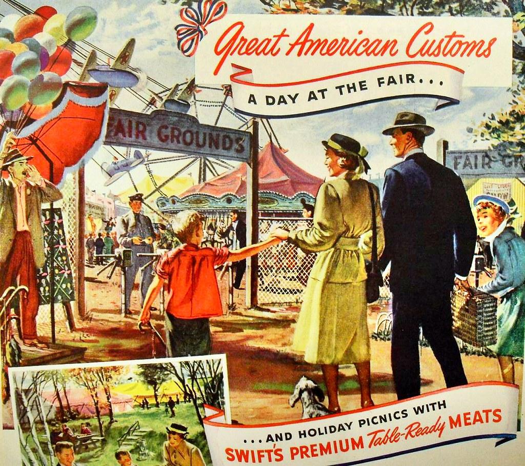 1940s Swift Meats Vintage Illustration Family Fairground C