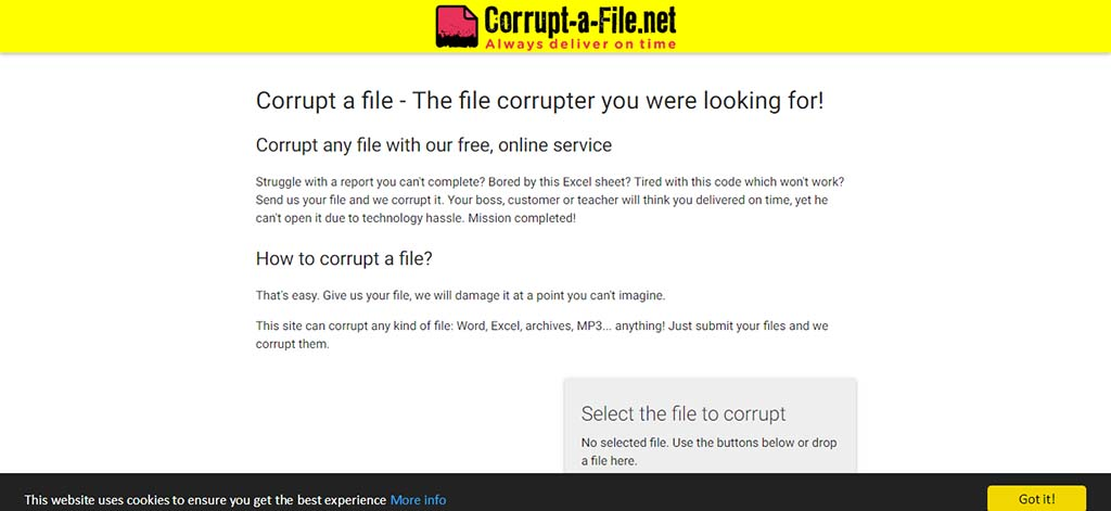 Extremely useful websites #10: Send your boss & teachers files by corrupting them so they would think they can't open the file due to technology hassle.