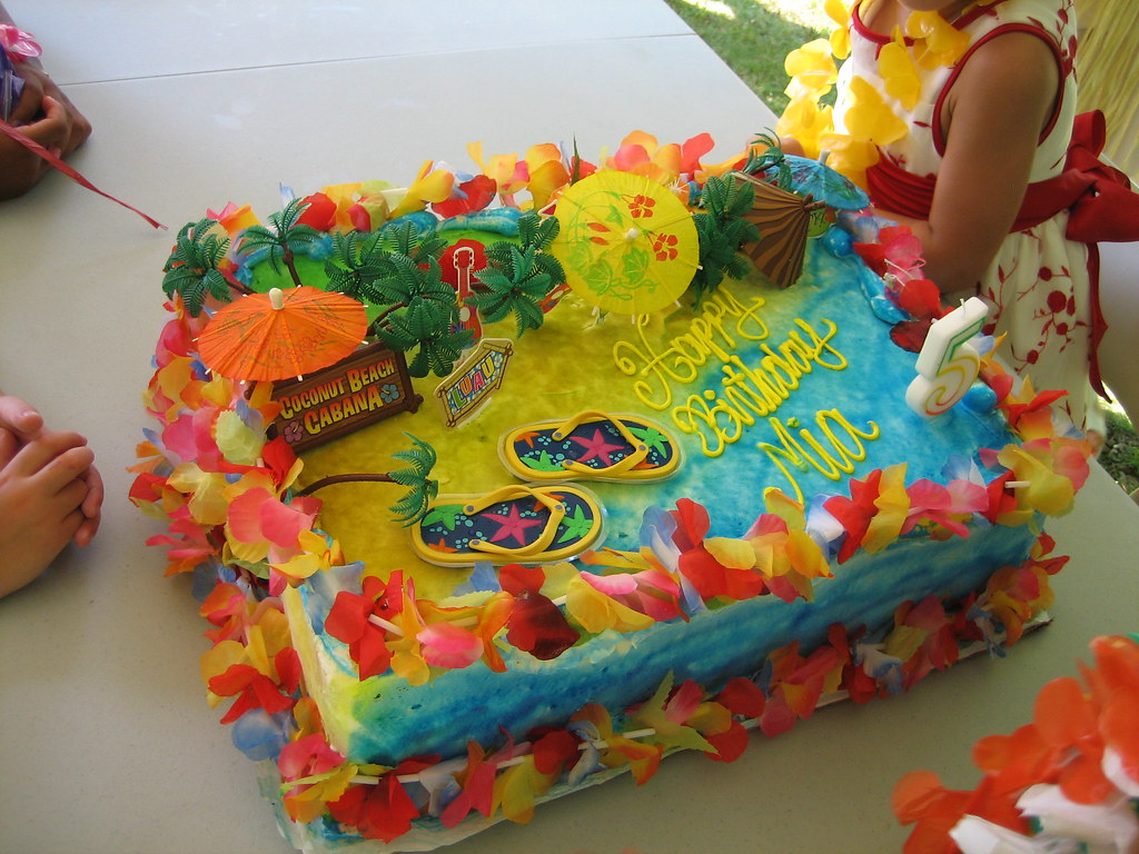 Mia S Hawaiian Luau Birthday Party Cake My Daughter