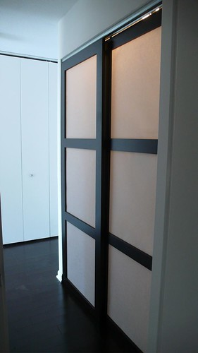 Custom made sliding shoji closet doors with synskin panels for Custom made internal bifold doors