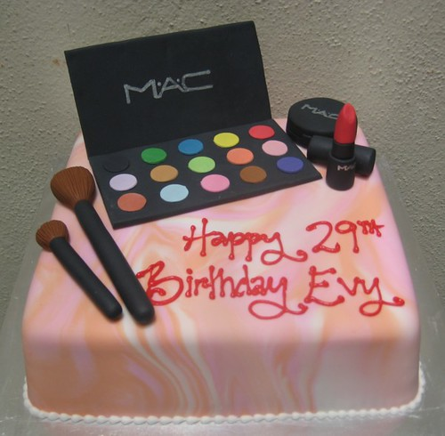mac cosmetics this birthday cake was for a makeup artis Flickr
