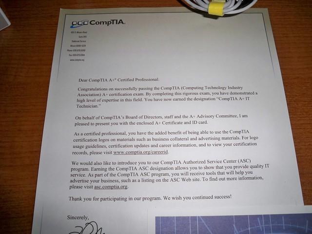 Comptia Congratulatory Letter Esteban Perez Flickr