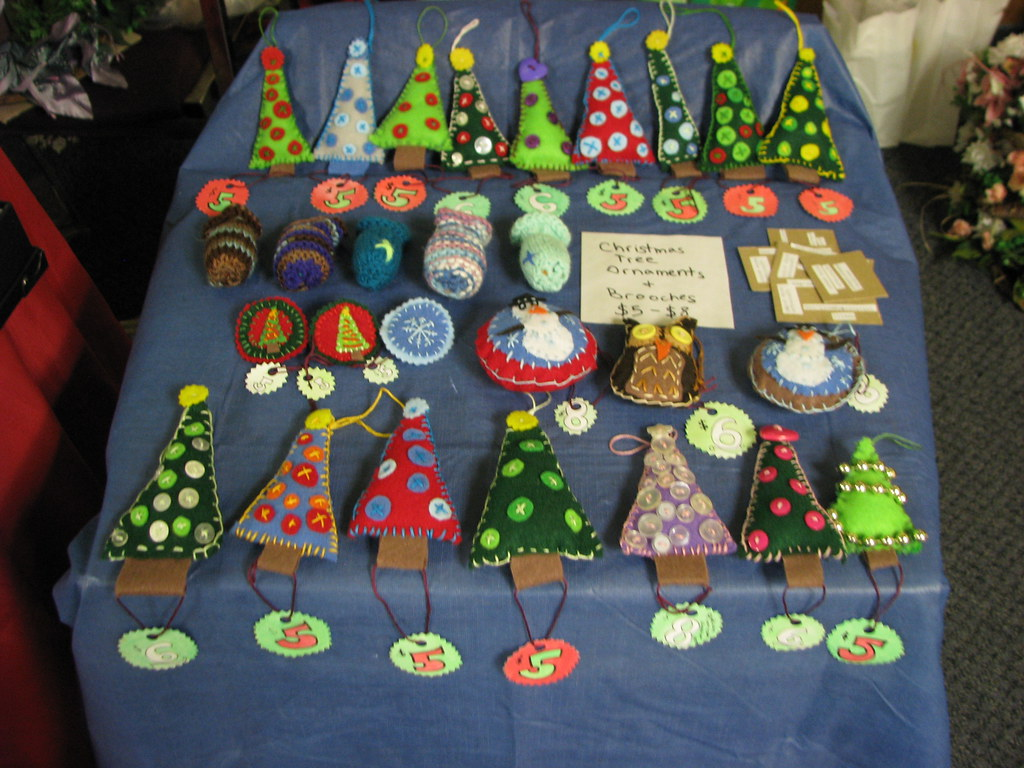 Christmas ornaments at the craft show my mom was selling for Christmas craft shows in delaware