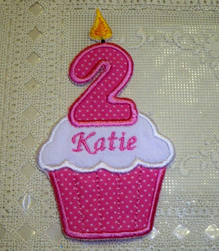 Pink 2nd Birthday Cupcake Iron-on Patch