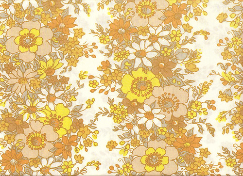 70's Yellow & Brown Flower Pattern Textile   Duvet cover