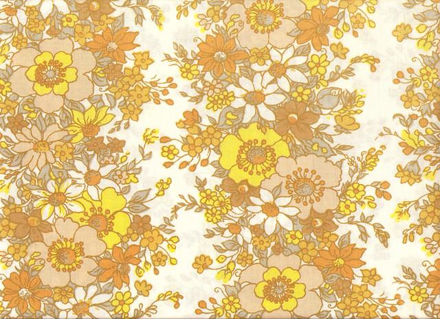 70 u0026 39 s yellow  u0026 brown flower pattern textile