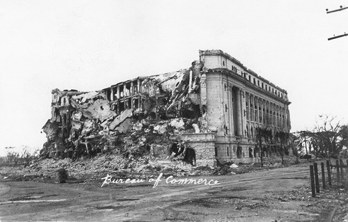 War Torn Bureau Of Commerce Building Manila Philippines