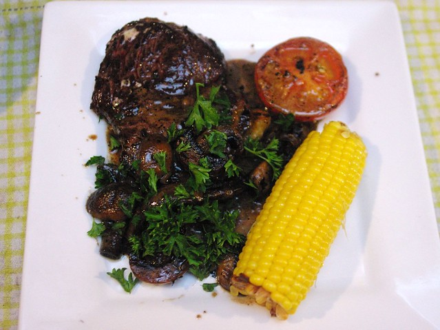 Rump Steak with mushroom and garlic sauce, tomato and corn… | Flickr ...