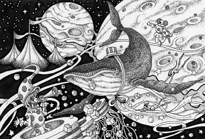 White Space Drawing Ink Drawing Interplanetary