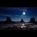 Vote for this picture: Moonlight reflexion on the snow in Monument Valley - The Mittens - Arizona