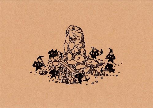 クラフト紙43_ツルハシで岩を砕く黒プレーン