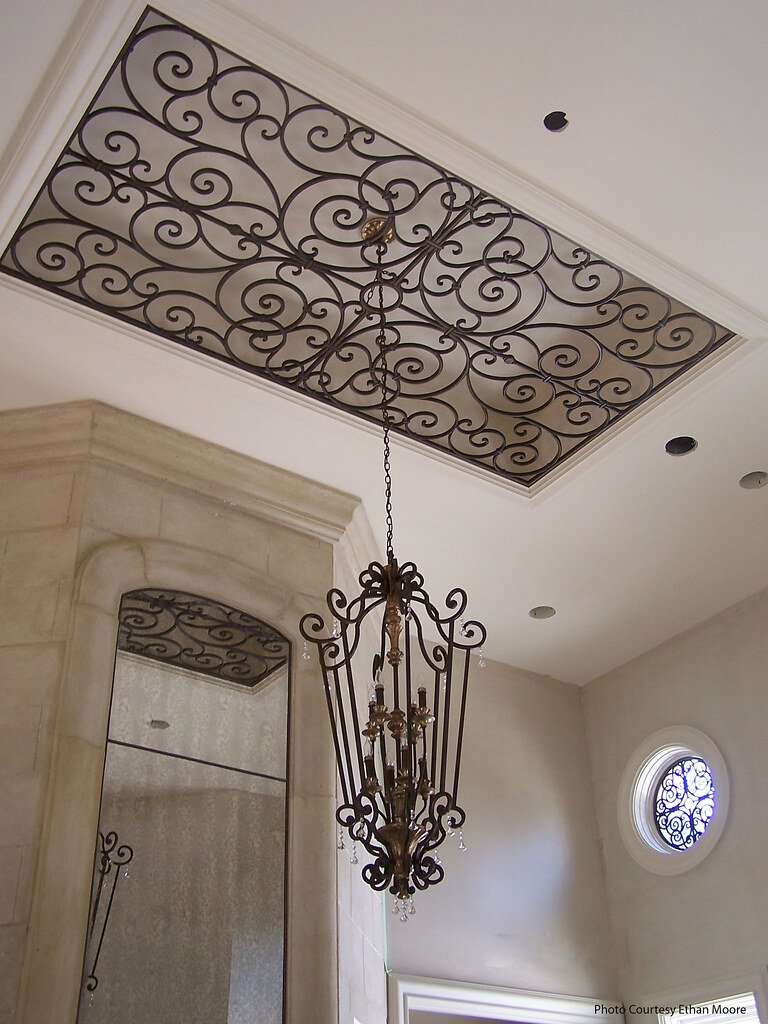 Faux wrought iron ceiling decor the ornamental ceiling for Ceiling hanging decorations ideas