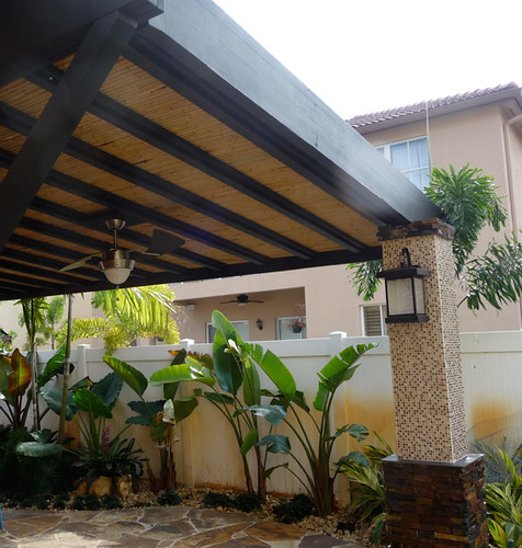 Bamboo Pergola With Tile And Stone Columns Bamboo