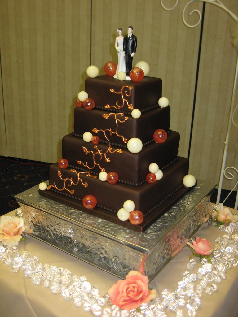 chocolate wedding cake with sugar bubbles 4 tier wedding c flickr. Black Bedroom Furniture Sets. Home Design Ideas