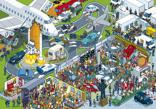 Top Gear Track and Studio from the book Where's Stig? - isometric pixel art by Rod Hunt | by Rod Hunt Illustration