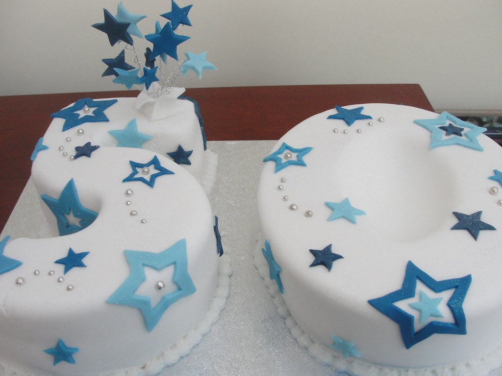 Blue 50 Birthday Cake Anges Cakes Peterborough Flickr