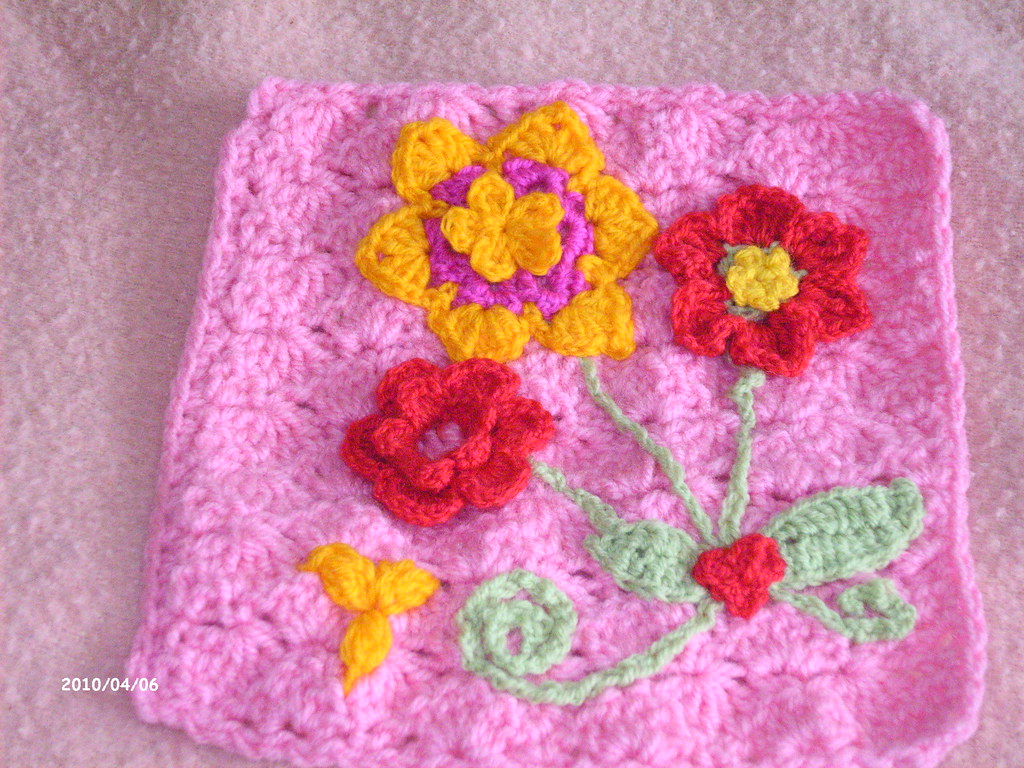 crochet flower square | my own design made with surface croc… | Flickr