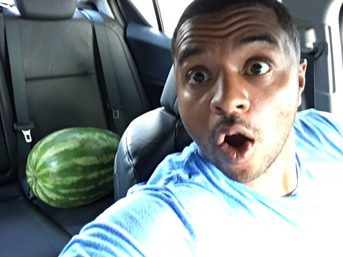 Anthony with a watermelon