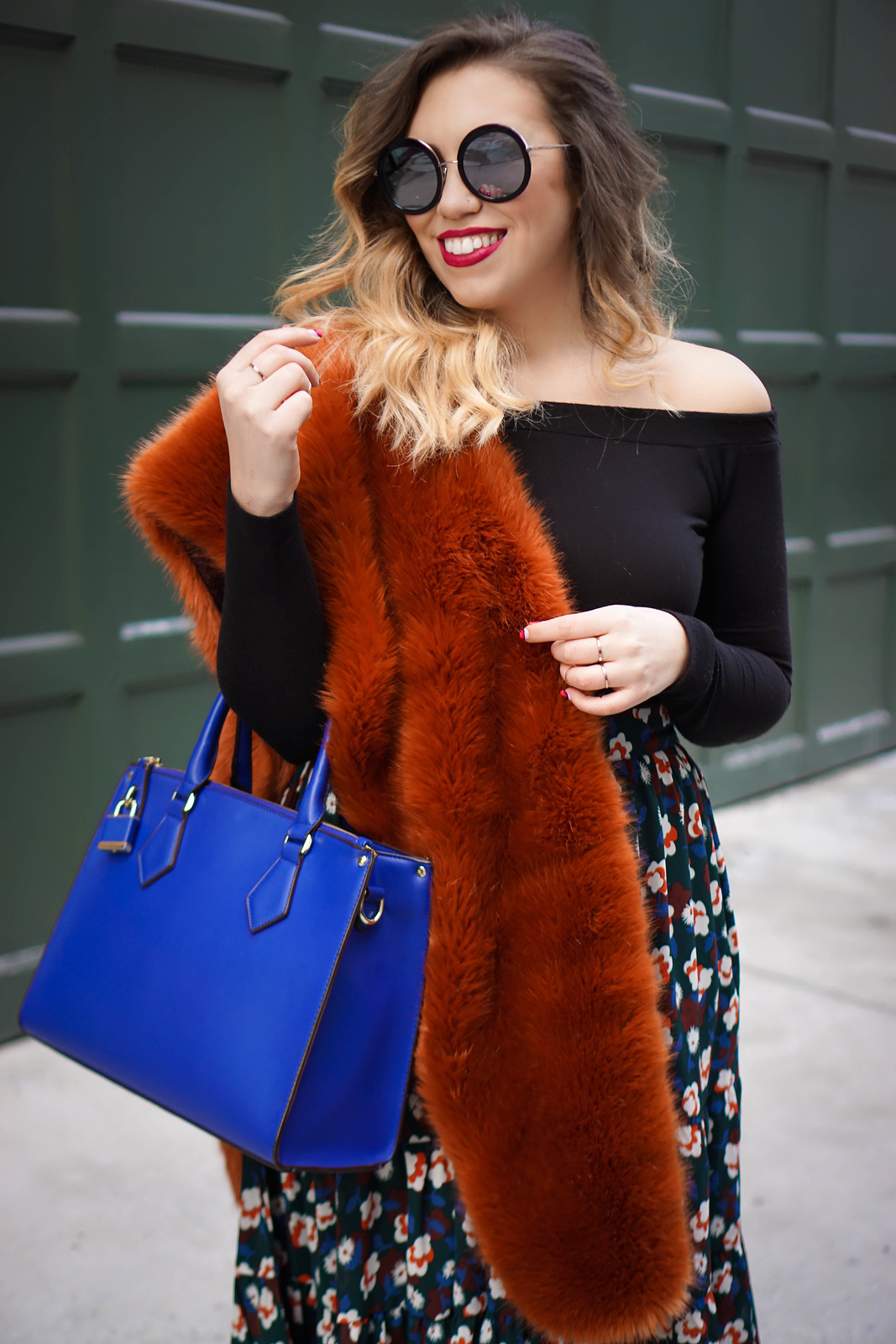 Faux Fur at NYFW | Sunday Somewhere Isabella Sunglasses, Off the Shoulder Sweater, Burnt Orange Scarf