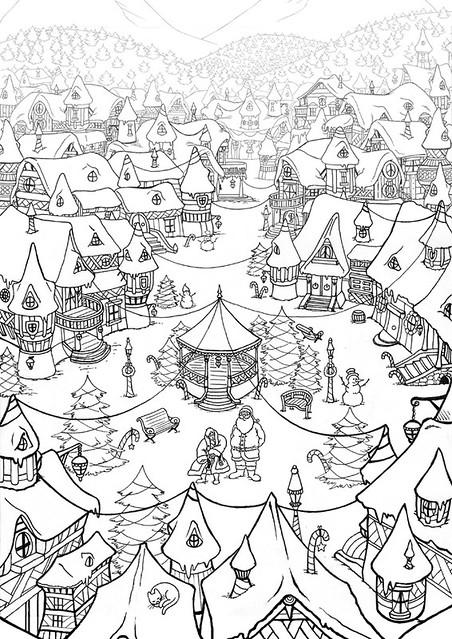 Village de noel noir et blanc le village de no l avant - Coloriage village de noel ...