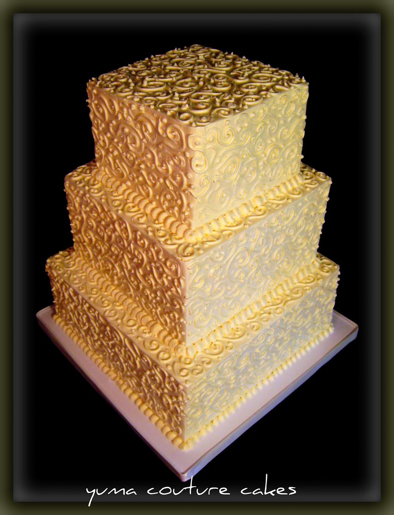 Yuma Arizona Wedding Cake - Jennifer | Three tiers of SMBC g… | Flickr