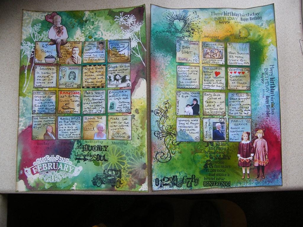 Art Journal Calendar Tutorial : February art journal calendar finished at last i think
