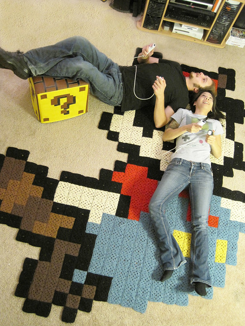 by Aerial view: Raccoon Mario rug \u0026 Question Block ottoman for Nintendo Power! | by & Aerial view: Raccoon Mario rug \u0026 Question Block ottoman fo\u2026 | Flickr