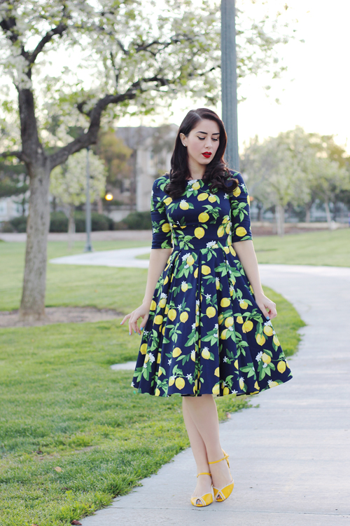 The Pretty Dress Company Hepburn in Lemon Print