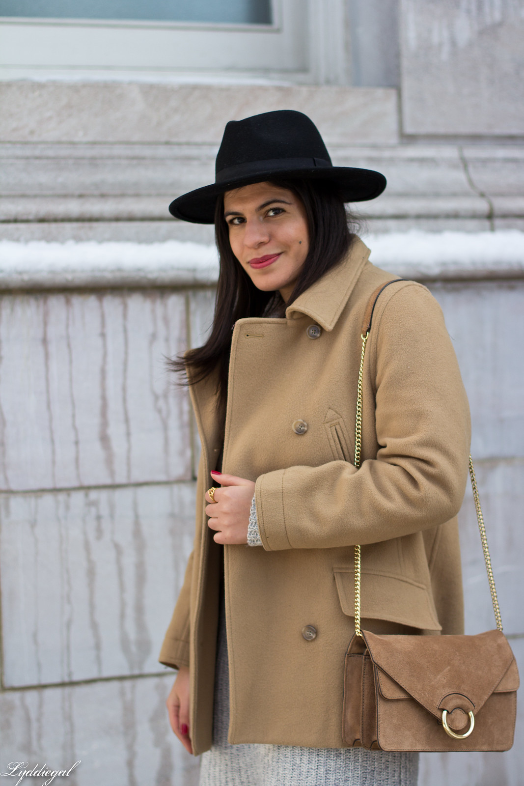 grey sweater dress, camel peacoat, black boots, winter outfit-7.jpg