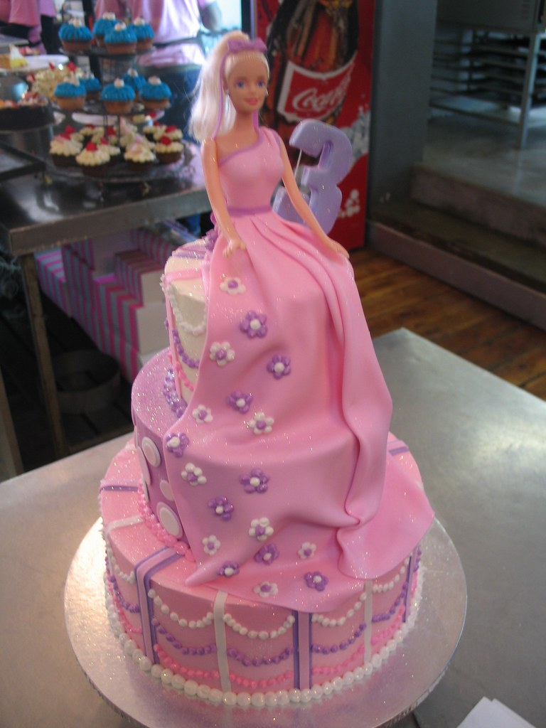 3 Tier Pink Cake With Barbie On Top Tier Charly S Bakery