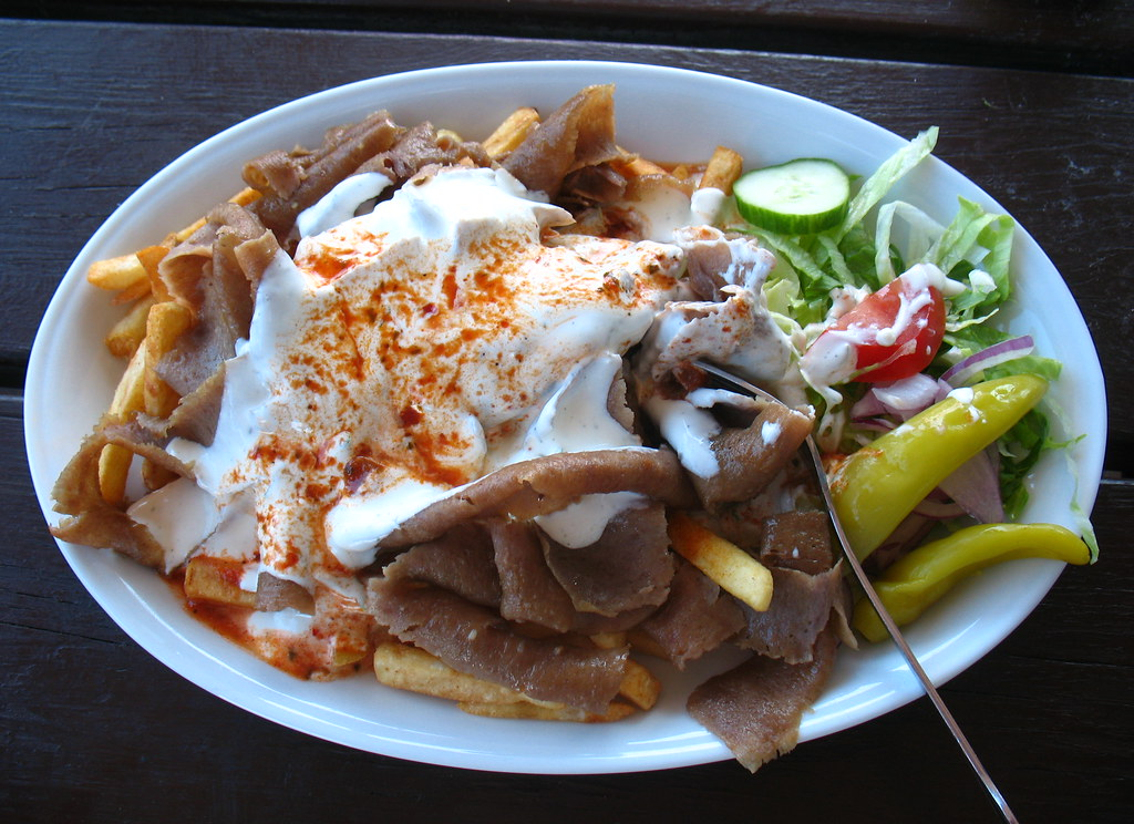 Swedish Kebab Plate Beef French Fries Salad Yougurt
