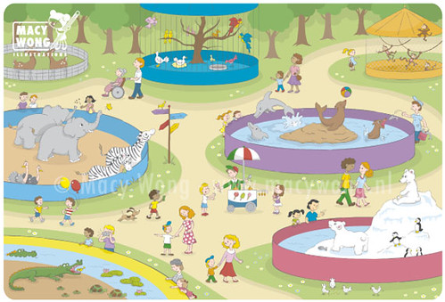 At The Zoo Vector Illustration Of People Enjoying A Day