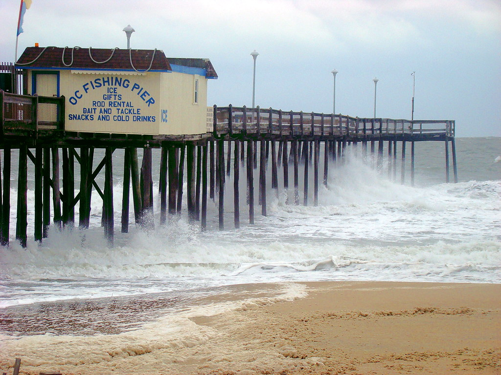 Northeaster waves at the fishing pier ocean city md flickr for Maryland fishing piers