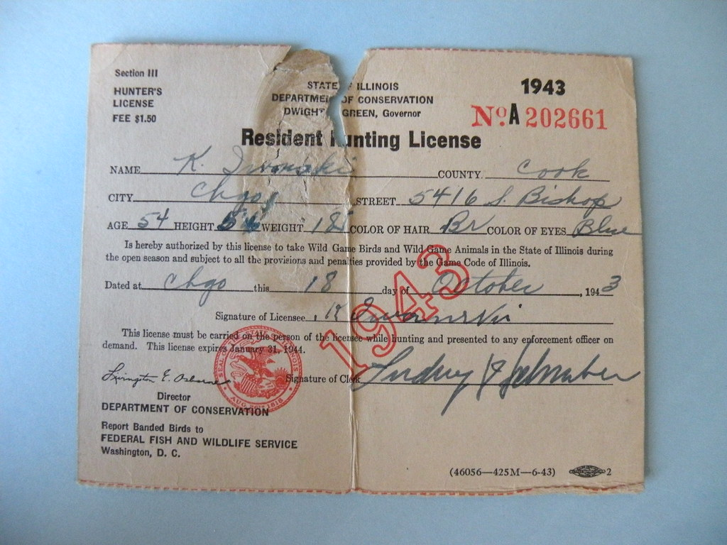 Kostanty gust iwanski 39 s 1943 illinois hunting license for How much is a fishing license in illinois