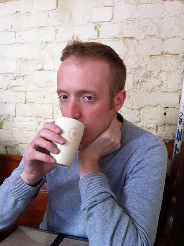 an unusual but gorgeous ceramic latte glass as modelled by a man of the same calibre | by snarkattack