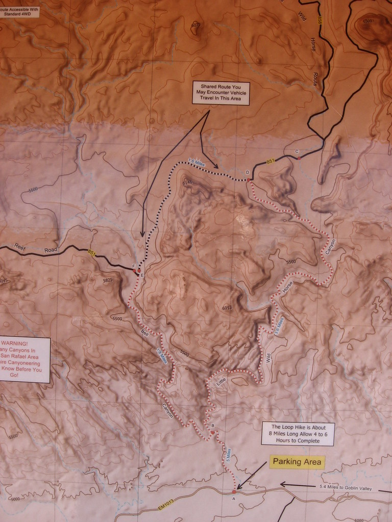 Map Of Little Wild Horse Canyon Near Goblin Valley State